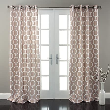 2pc Boys 84 Taupe Brown White Abstract Curtains Panel Pair Set Color Drapes Circle