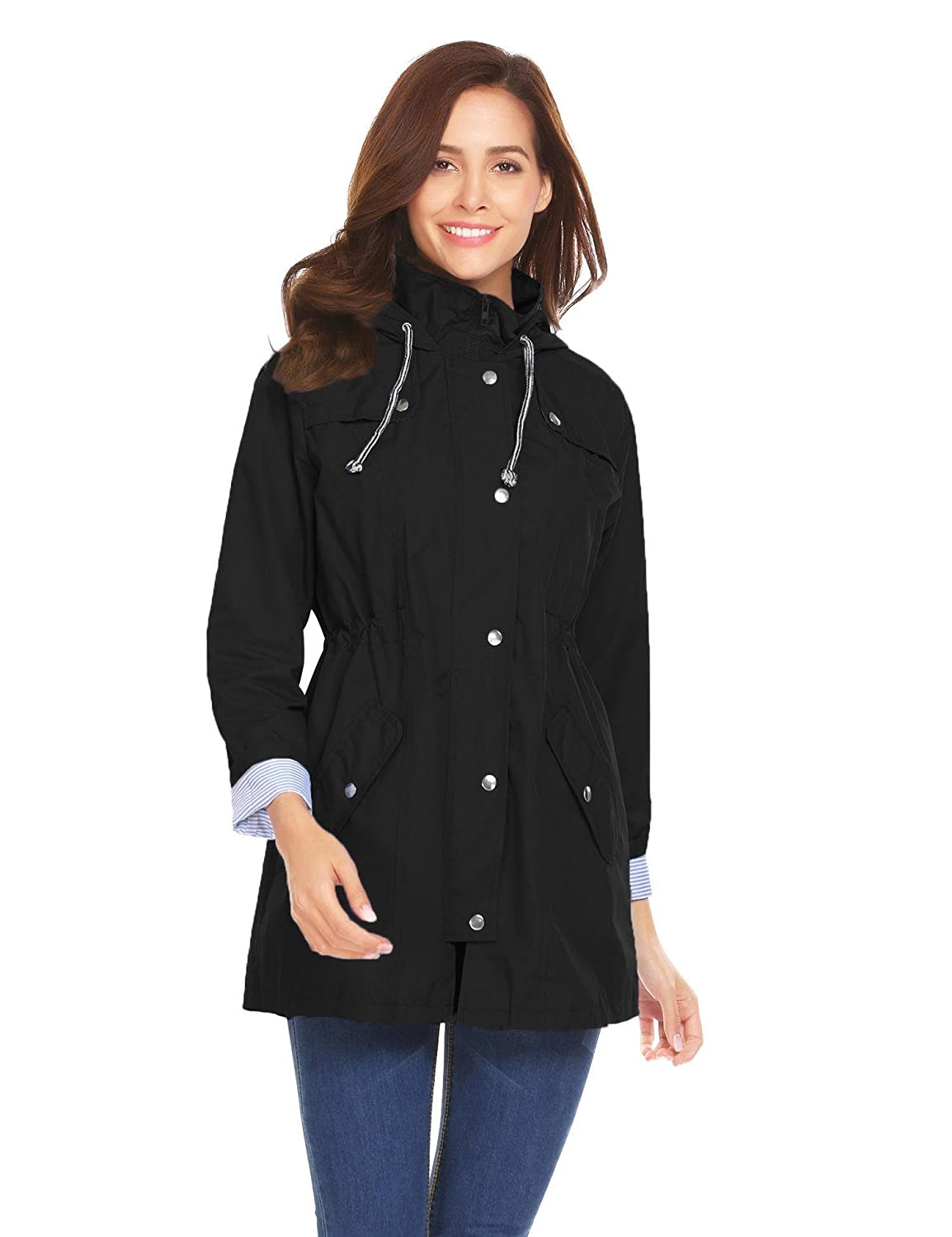 Meaneor Womens Lightweight Waterproof Rain Jacket Active Outdoor Hooded Raincoat with Pockets