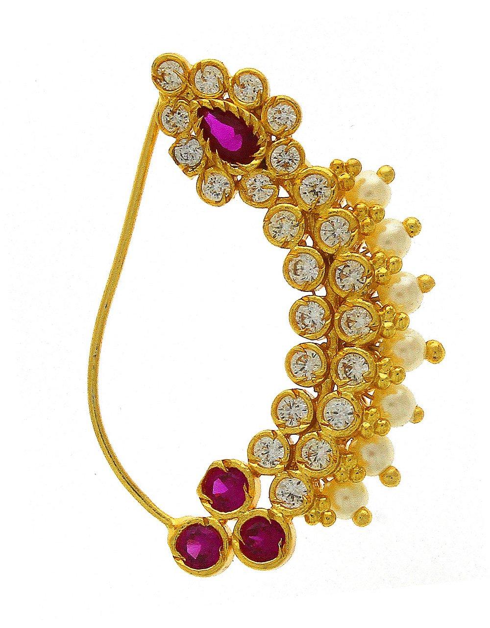 Anuradha Art Pink Colour Beautiful Designer Traditional Maharashtrian Nath Nose Ring For Women/Girls