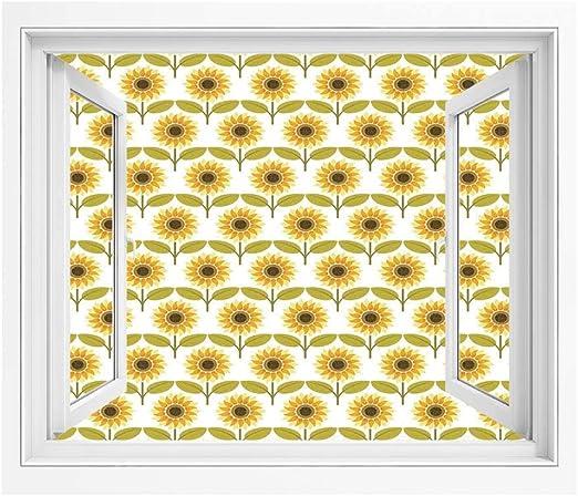 Amazon ひまわりの装飾 偽窓ステッカー 絵画風 Pvc壁紙 150x1 Cm ひまわりパターンレトロなイラストを飾る秋のカントリースタイルプリント 壁紙 簡単壁紙シール 風景 景色ステッカイエローホワイトグリーン ウォールステッカー オンライン通販
