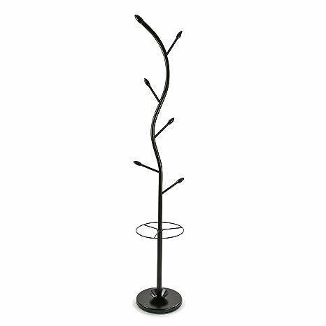 Versa Perchero de pie Negro, Metal Lacado, 185 x 30 x 30 cm
