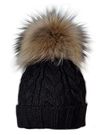 b5ffc871781 MERRYLAND Beautiful bobble beanie black hat cap XXL fur pompom winter  knitted hat pom pom  Amazon.co.uk  Clothing
