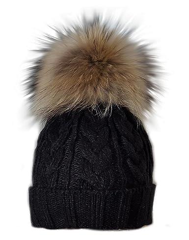 1e2b7cfb569 MERRYLAND Beautiful bobble beanie black hat cap XXL fur pompom winter  knitted hat pom pom  Amazon.co.uk  Clothing
