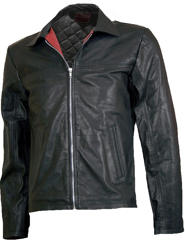 Super Trim Men's Black Fashion Leather Jacket