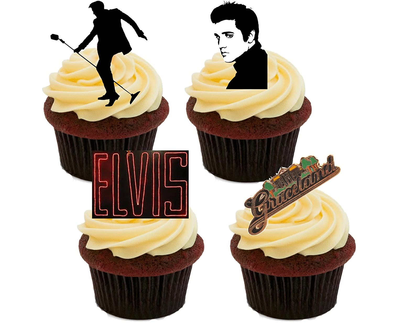 Lot of 12 Elvis Cupcake Toppers!
