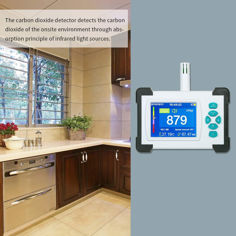 D/étecteurs de CO2 D/étecteur de Dioxyde de Carbone avec Batterie Rechargeable CO2 M/ètre Testeur pour D/étecteur de Dioxyde de Carbone de la Qualit/é de lair CO2 M/ètre Compteur avec /étui de Rangement