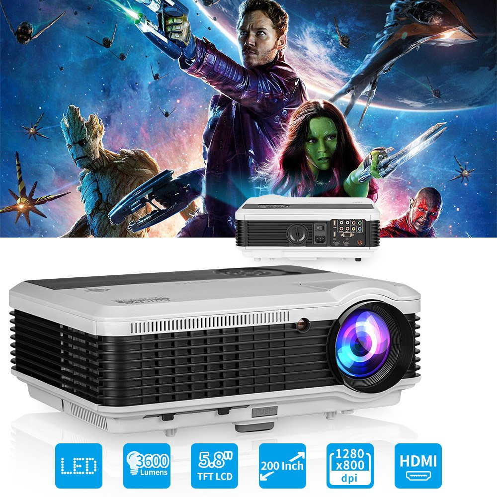 EUG LCD LED Multimedia HD Video Projector 3600 Lumens 1280x800 1080P 3D Digital Movie Gaming Projector HDMI USB TV AV VGA Audio for Laptop PC Smartphone DVD PS4 Xbox Wii Home Theater Outdoor Party by EUG