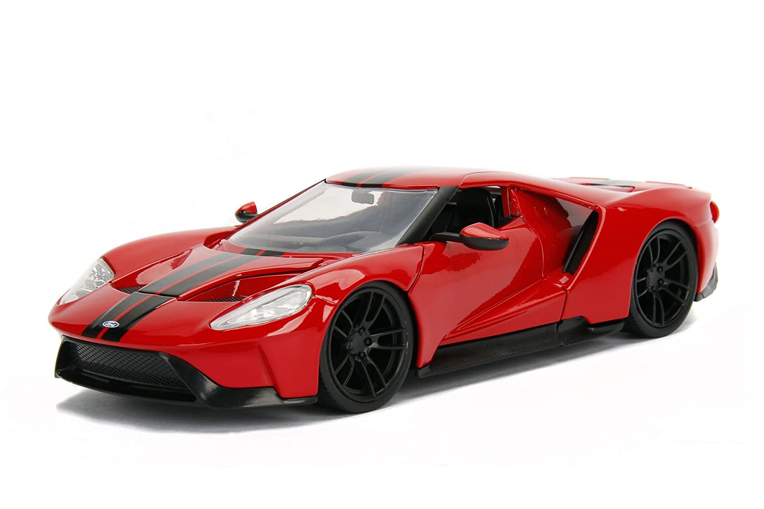 2017 Ford GT Black with Red Stripes 1 24 Diecast Model Car by Jada 99389