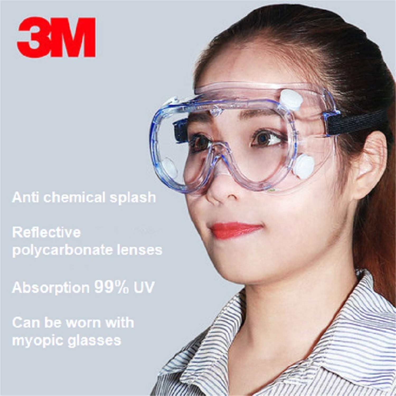 BABIFIS 3M 1621 Anti-Impacto Gafas de Seguridad contra Salpicaduras químicas Protección de irradiación Laboratorio del Hospital de policarbonato Pintura Vasos