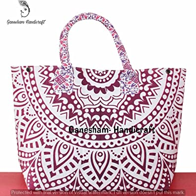 374131a2cd00 Indian Mandala Boho Shoulder Bags Hippe Tapestry Top-Handle Cotton Handbag  Tote Bag Simple Purse