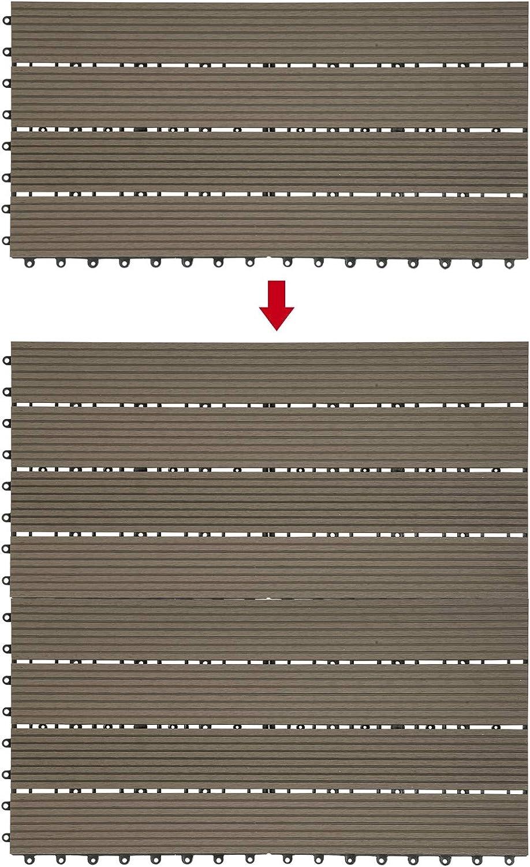 Laneetal Baldosas de Madera 30 x 60 cm Suelo de Exiterior WPC Juego de 6 Suelo Terraza Exterior para Jard/ín 1m/² Suelo Madera Jardin Marr/ón