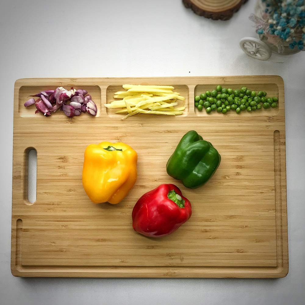 HHXRISE Large Organic Bamboo Cutting Board For Kitchen, With 3 Built-In Compartments And Juice Grooves, Heavy Duty Chopping Board For Meats Bread Fruits, Butcher Block, Carving Board, BPA Free ... by HHXRISE