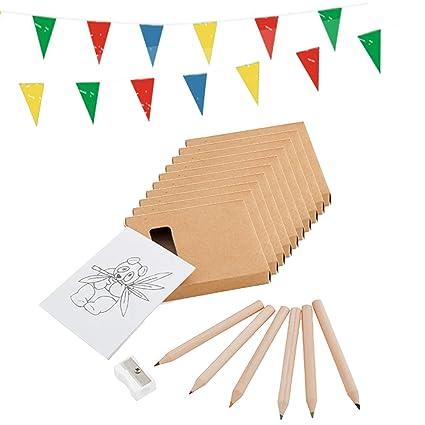 Piñata Cumpleaños Partituki. 40 Sets de 6 Lápices de Colores con Bloc y una Guirnalda de 10mts. Ideal como Detalles para Niños, Fiesta Cumpleaños ...