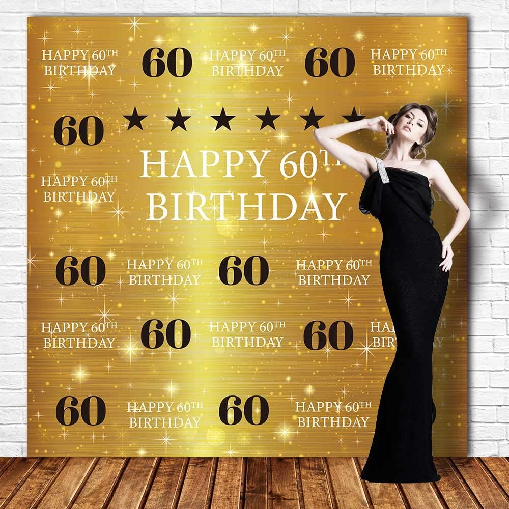 Funnytree 8x8ft Durable Fabric Gold 60th Birthday Photography Backdrop No Wrinkles Adult Step and Repeat Golden Glitter Shiny Background Sixty Years Old Age Party Decoration Banner Photo Booth Props