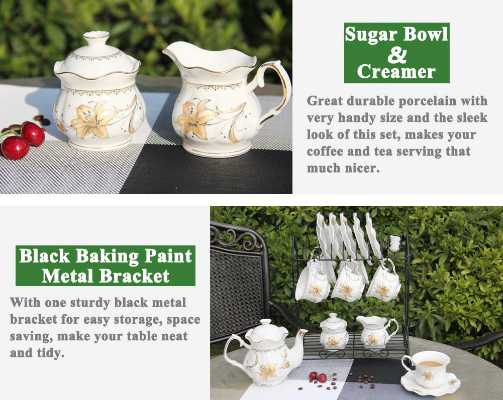 Porcelain Ceramic Coffee Tea Sets 21 pieces with Metal Holder,Cups and Saucers Sets and Spoons for 6,with Teapot Sugar Bowl Cream Pitcher by CHP (Image #4)