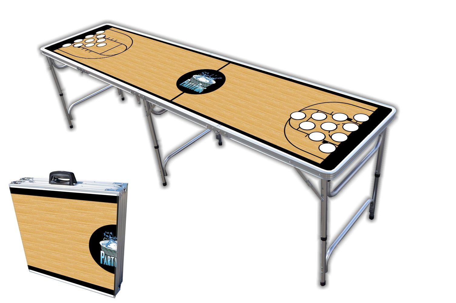 8-Foot Professional Beer Pong Table w/Cup Holes - Basketball Court Graphic