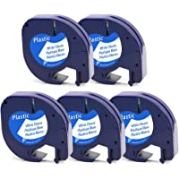 5 Rubans LetraTag d'étiquettes en Plastique, Cassette à Cartouches 91201 S0721610 Compatible avec les étiqueteuses Dymo LetraTag LT-100H LT-100T QX 50 2000 Noir sur Blanc 12 mm x 4 m
