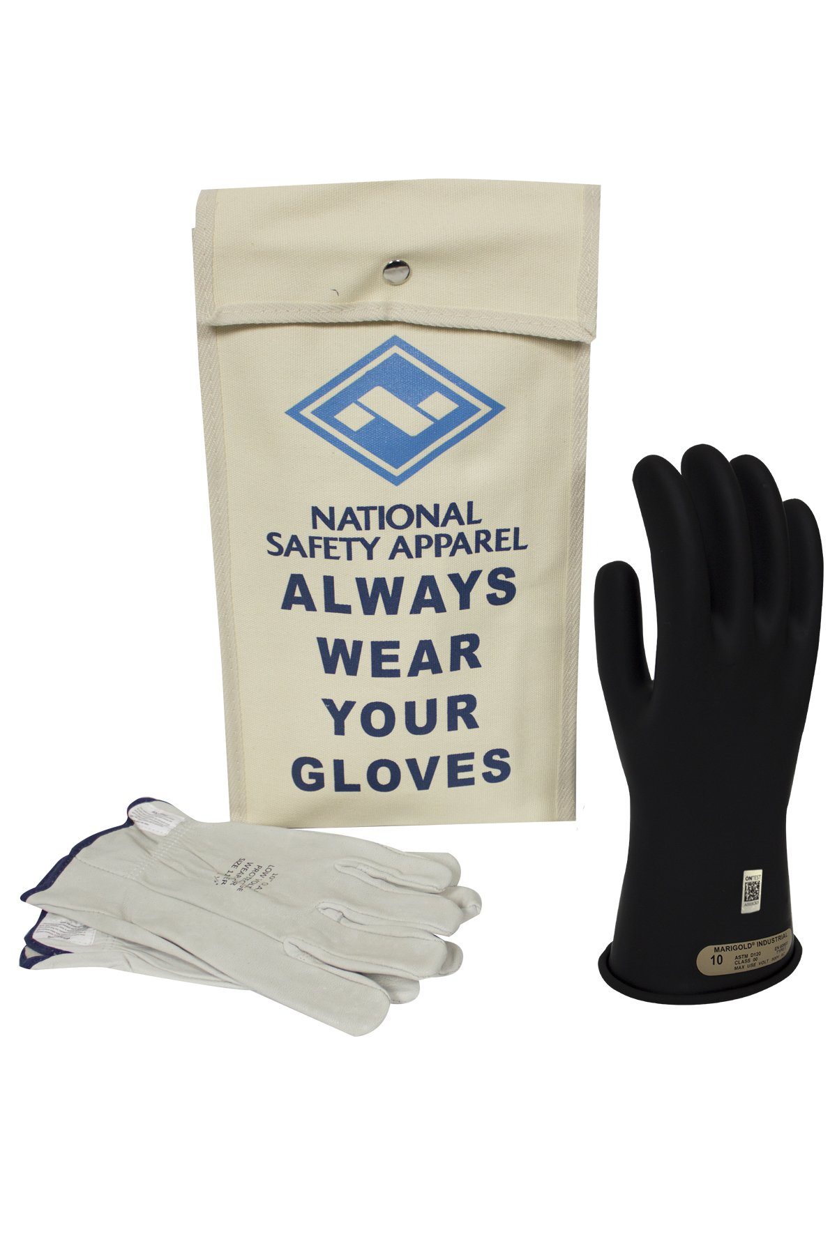 National Safety Apparel Class 00 Black Rubber Voltage Insulating Glove Kit with Leather Protectors, Max. Use Voltage 500V AC/ 750V DC (KITGC0009)