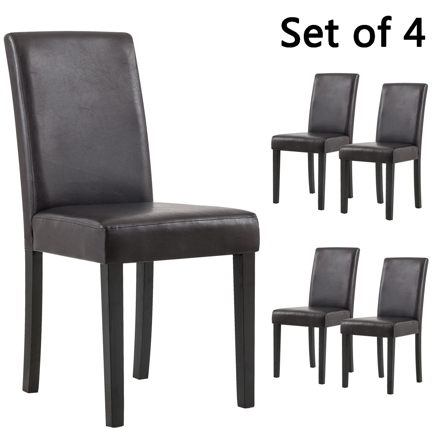 YEEFY Set of 4 Urban Style Solid Wood Leatherette Padded Parson Dining Chair (Brown)