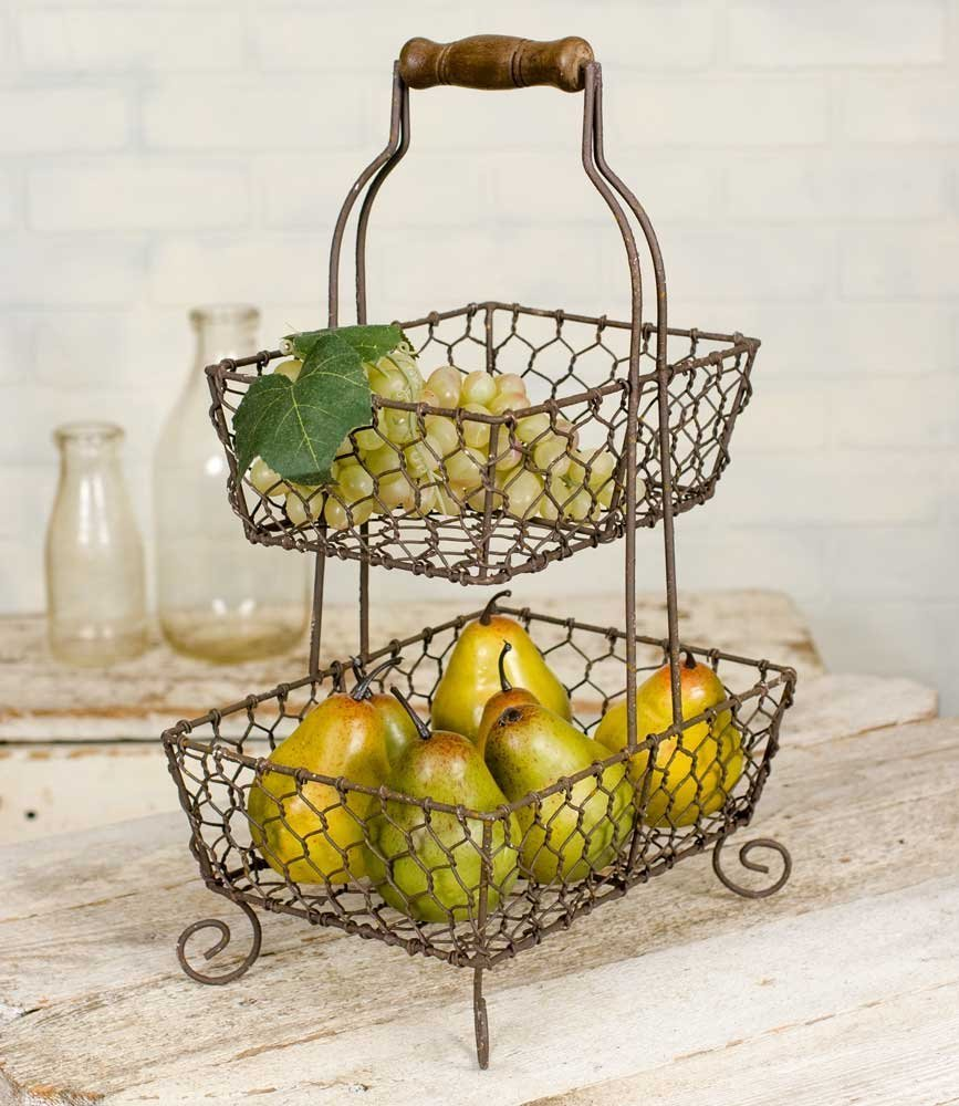 CTW 2 Tier Square Metal Tiered Grayson Caddy Rack Display Stand Basket Wooden Handle for Fruit Vegetables Kitchen Bathroom Toiletries Storage Rustic Country Farmhouse Style Decor Brown