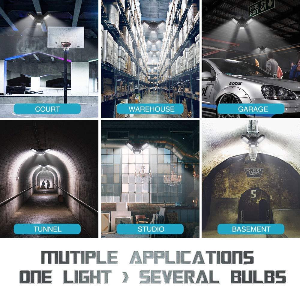 Lampen LED E27 100W Garage Licht 10000 LM LED Werkstattlampe Garagenleuchte mit 3 verstellbaren Panels f/ür Garage Werkstatt Lager Keller