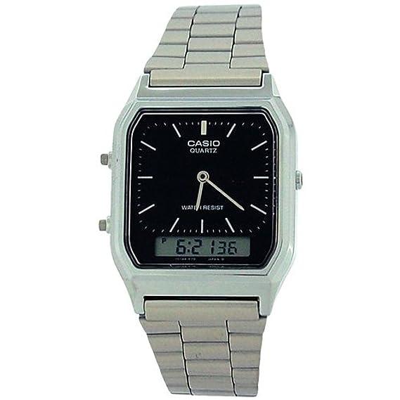 Casio reloj para hombre Digital y analógico de pulsera de acero inoxidable reloj de pulsera de la correa aq-230a - 1dmq: Amazon.es: Relojes
