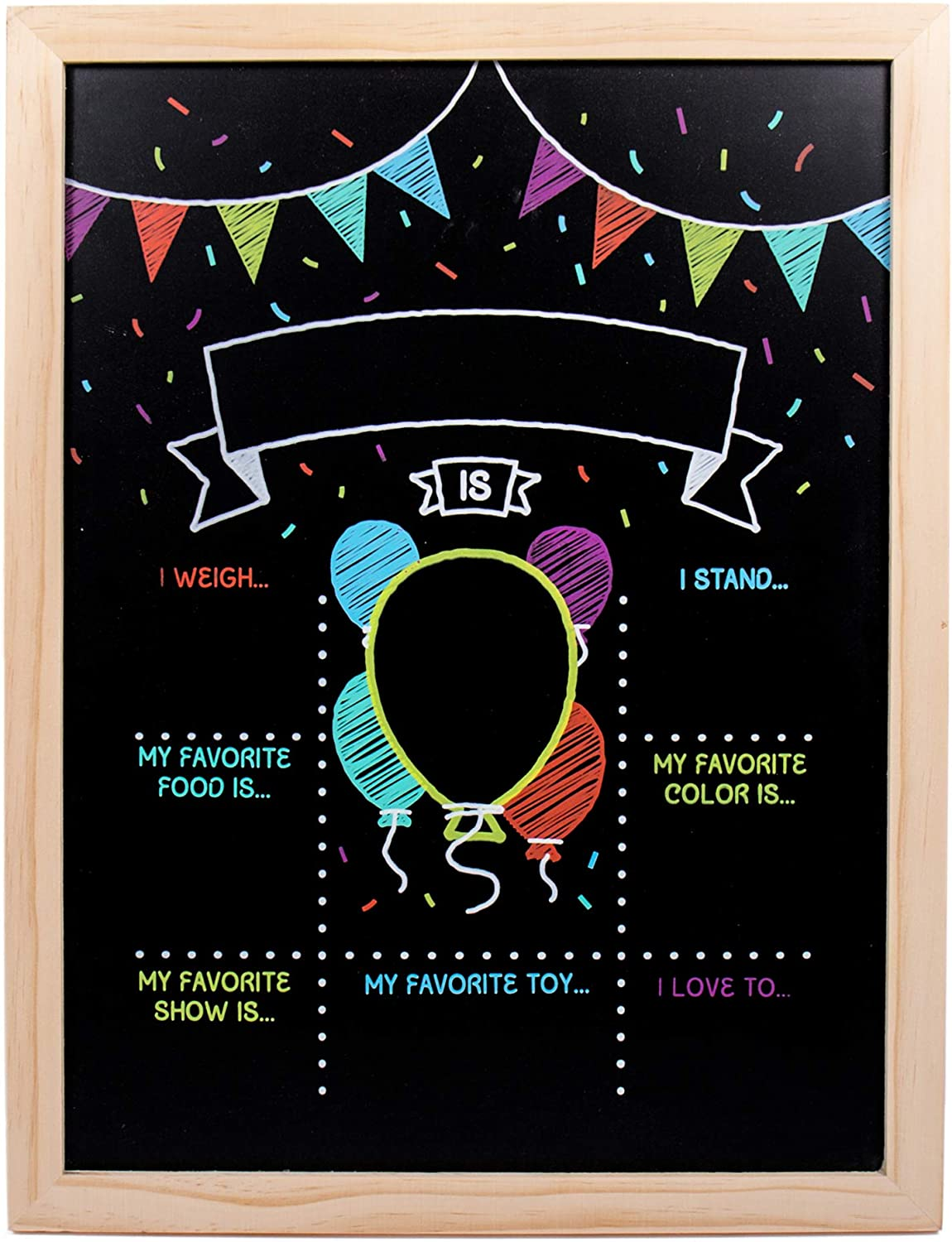 Horizon Group USA Pre-Printed Double-Sided Reusable Birthday Chalkboard, Photo Prop Chalkboard
