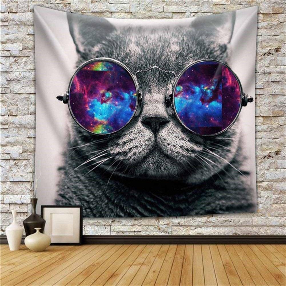 59Wx51L 4 QCWN Tapiz multicolor con dise/ño de lobo galaxia y gato hipster para colgar en la pared poli/éster decoraci/ón para el hogar