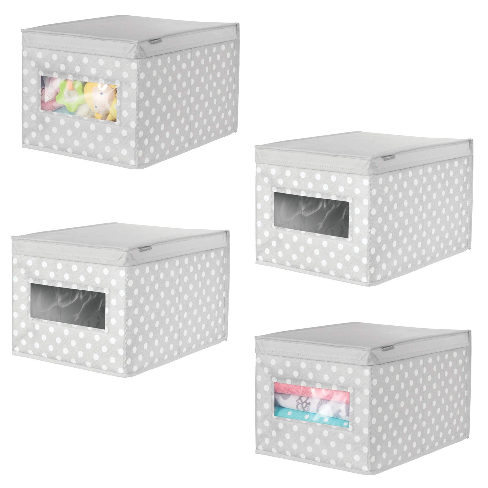 mDesign Soft Stackable Fabric Closet Storage Organizer Holder Box - Clear Window, Attached Hinged Lid, for Child/Kids Room, Nursery - Polka Dot Pattern � Large, Pack of 4, Light Gray with White Dots