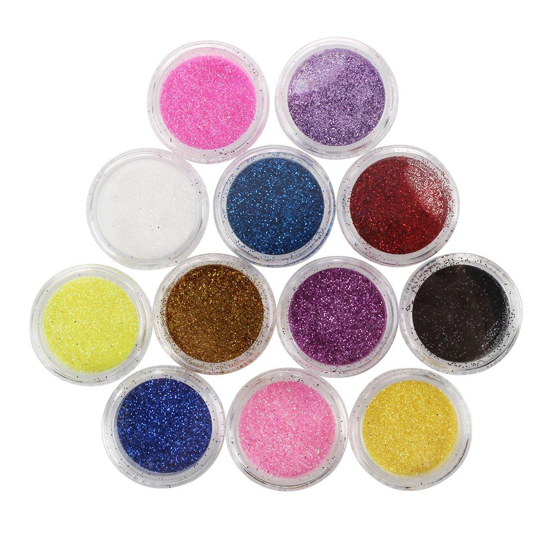 RUIMIO 15 pcs Nail Art Pennelli , 12 Colori Adesivi Nail Art , 30 ...