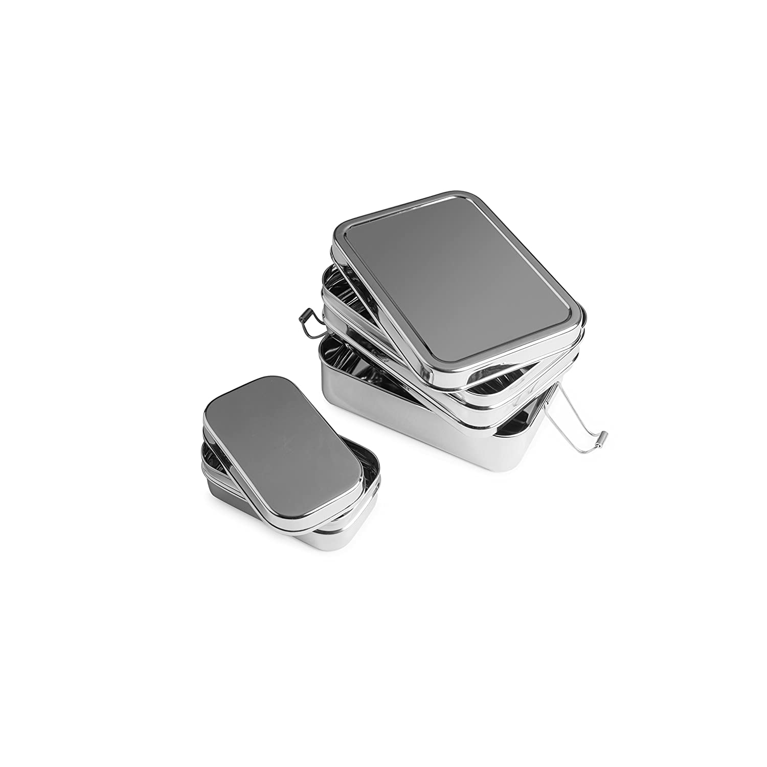 Brotzeit Lunch Box Lunch Boxes 3-in-1Three in One Lunchbox Sandwich Lunch Box 100% BPA Free Safe Closed Stainless Steel Lunch Box Design, Silver, 15.5x 11x 8.4cm pure and green e.U. 9120084850030
