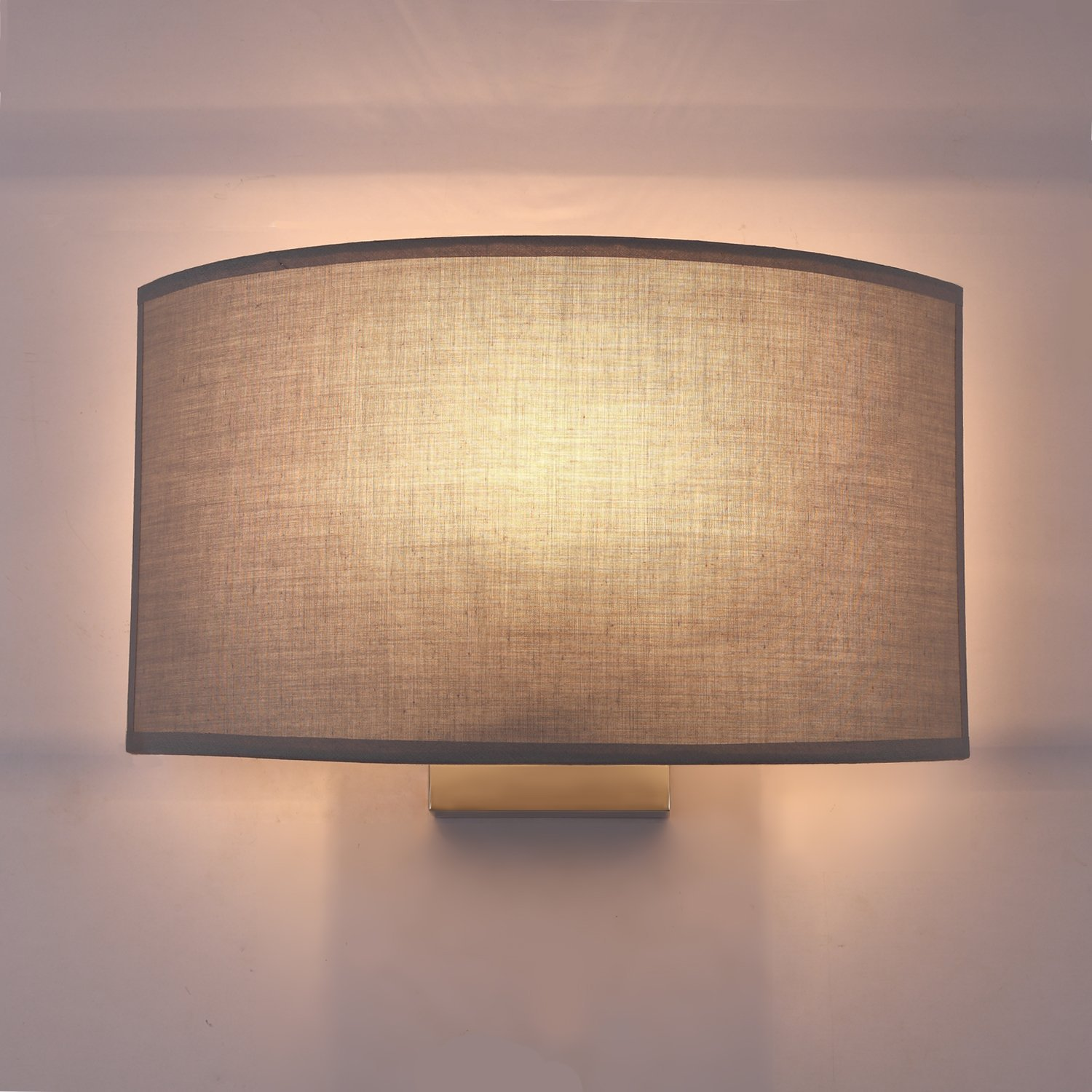 SPARKSOR Wall Light, Minimalist Wall Sconces 1 Light Chrome and Fabric Shade, fit for Bedroom, Living Room, Baby Room