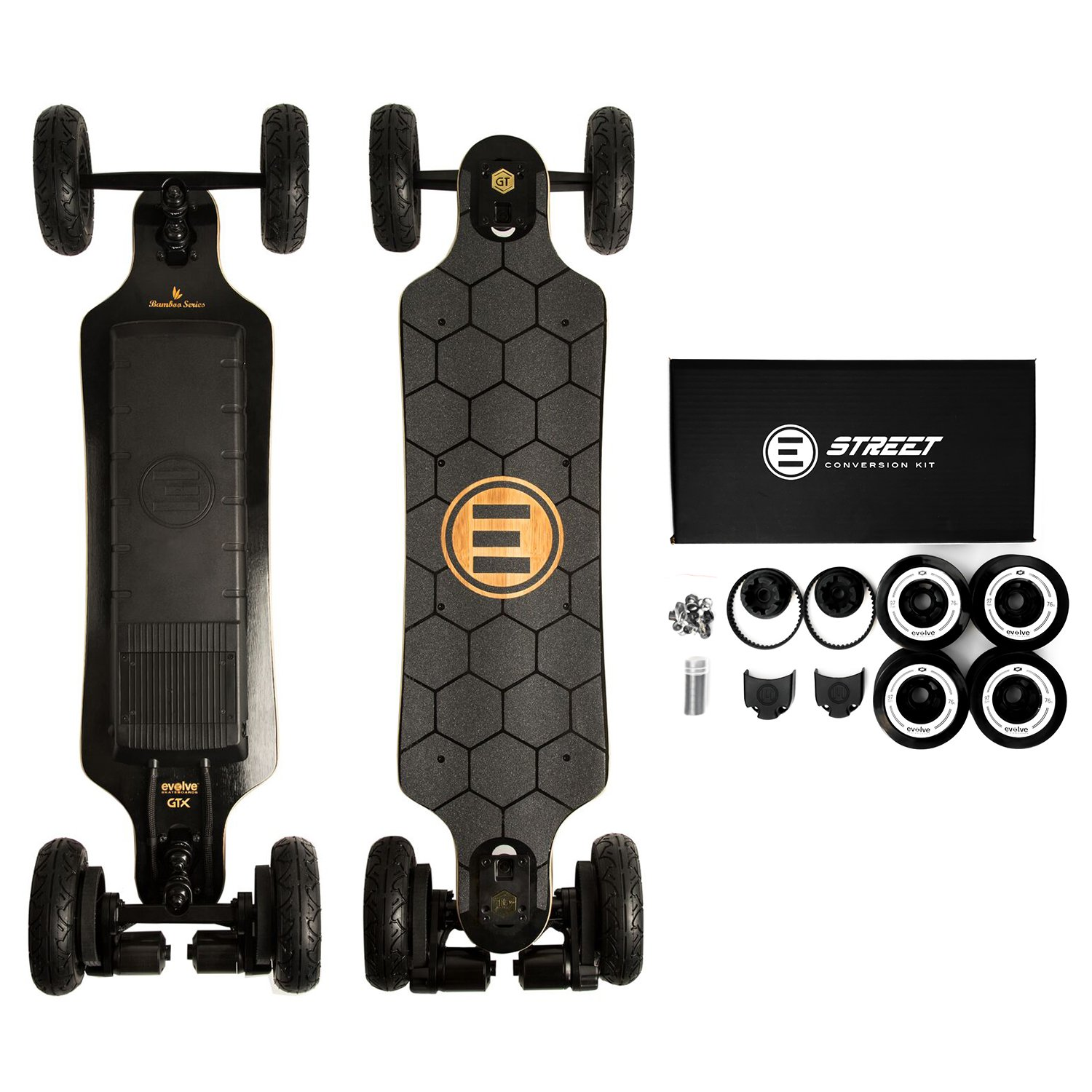 Evolve Skateboards – Bamboo GTX Street AND All-Terrain Electric Longboard Skateboard – 31 Mile Range – 26 mph Top Speed –Digital LCD Screen Remote Control – Lithium-Ion Battery