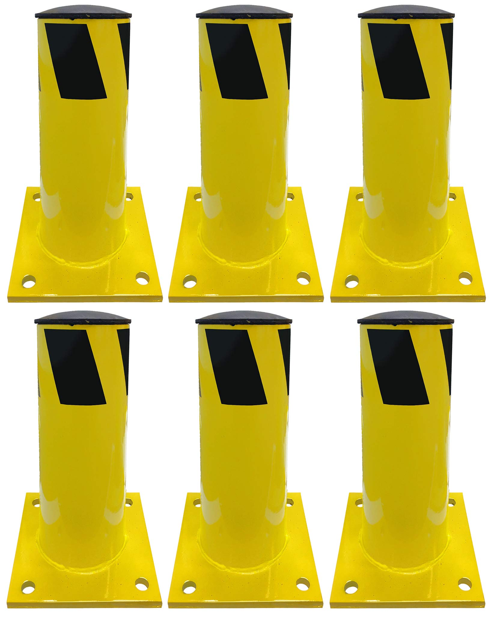 Electriduct 1 Foot Steel Pipe Safety Bollard Post Yellow/Black Stripe - Parking Lot Traffic Barrier (12'' Height - 4.5'' OD) - Pack of 6