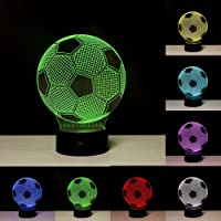 3D Illusion Effect Night Light, Soccer LED Night Lamp with 7 Colors Changing for Home / Office Decorations, Toys and Gifts for Kids / Birthday / Christmas