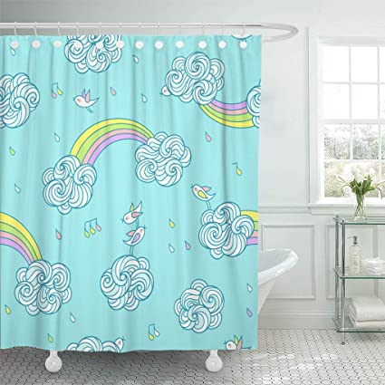 Ashleyallen Shower Curtains Sweet Little Birds Are Singing And Flying In The Sky Above Curly Clouds