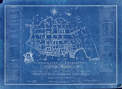 Amazon 18 x 24 blueprint style reproduced old map of 18 x 24 blueprint style reproduced old map of 1790ichnography of charleston south malvernweather Images
