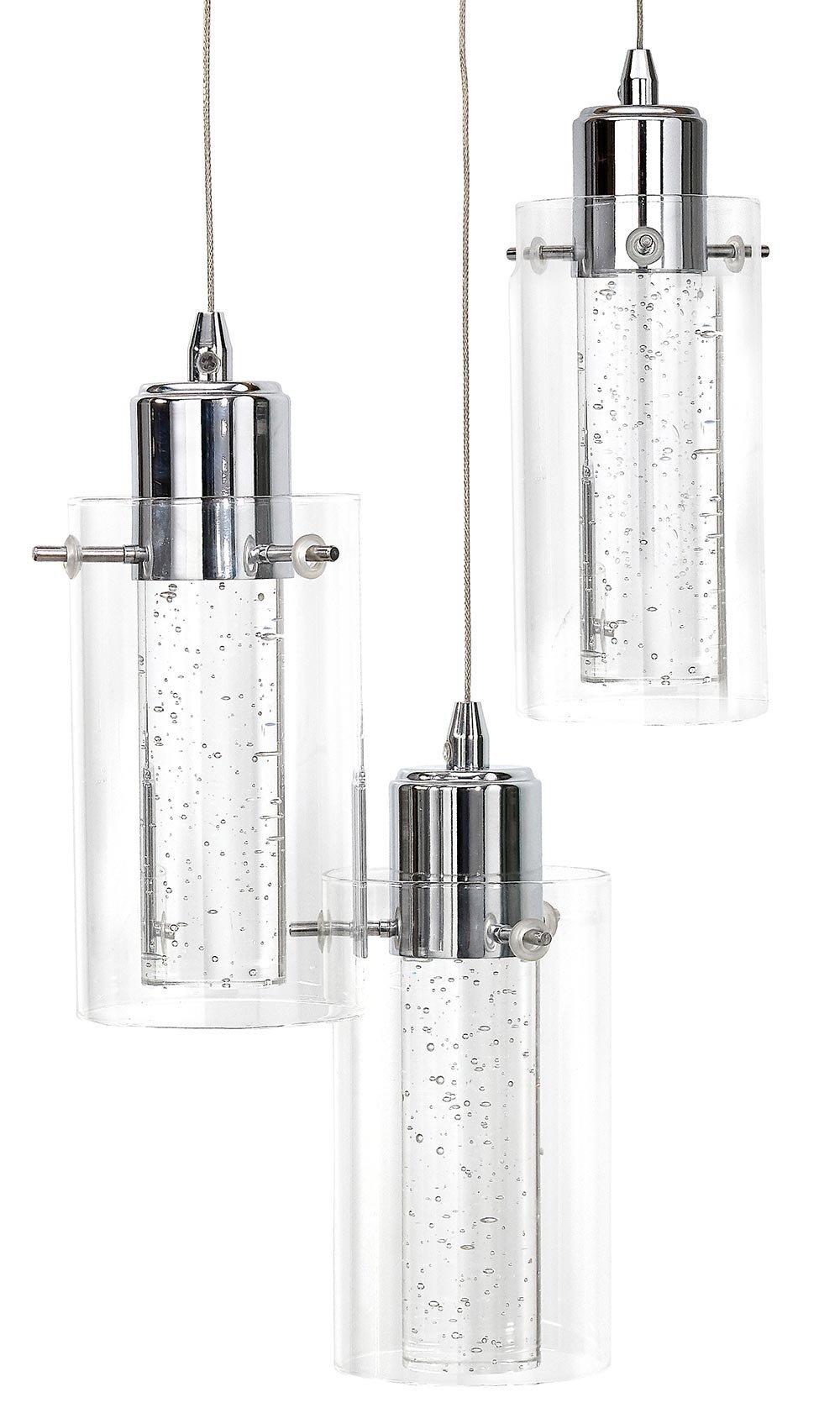 Polished Bubble Glass Triple Hanging Pendant Light Fixture ...