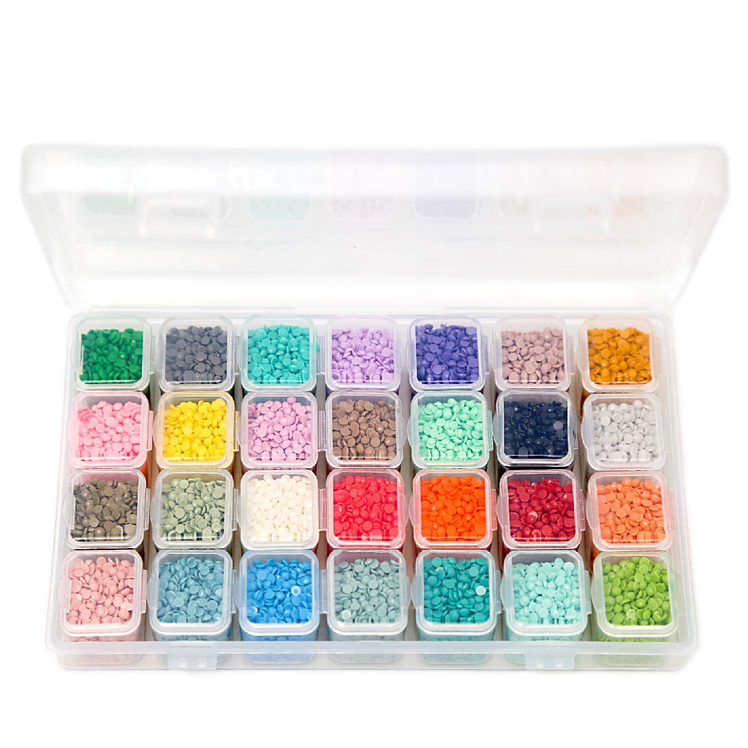 28 Colors Diamond Painting Accessories Replacement Round Diamonds with Adjustable 28 Grids Diamond Storage Boxes and 617 Pieces Marker Label for Missing Drills of 5D Diamond Painting Kits