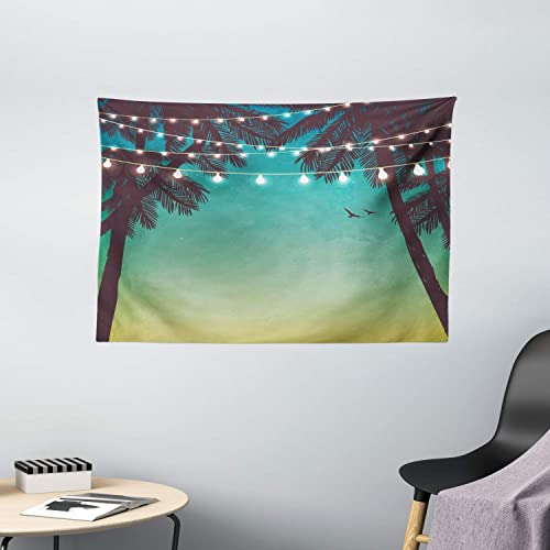 Ambesonne Nature Tapestry, Night Time Beach Sunset Design with Little Lantern and Island Palm Trees Art Print, Wide Wall Hanging for Bedroom Living Room Dorm, 60 X 40 , Pale Teal