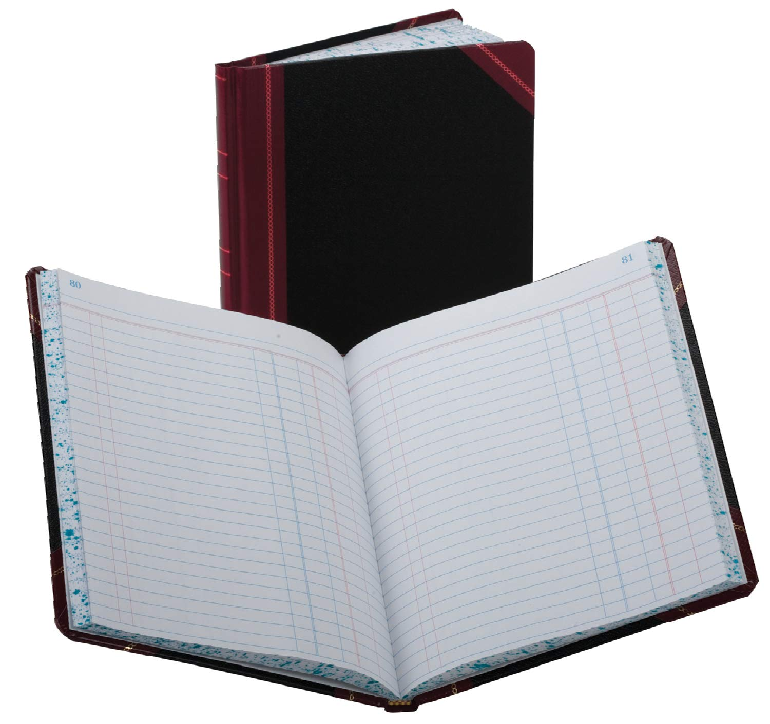 Boorum & Pease Record/Account Book, Black/Red Cover, Journal Rule, 9-5/8 x 7-5/8, 150 Pages (38-150-J)