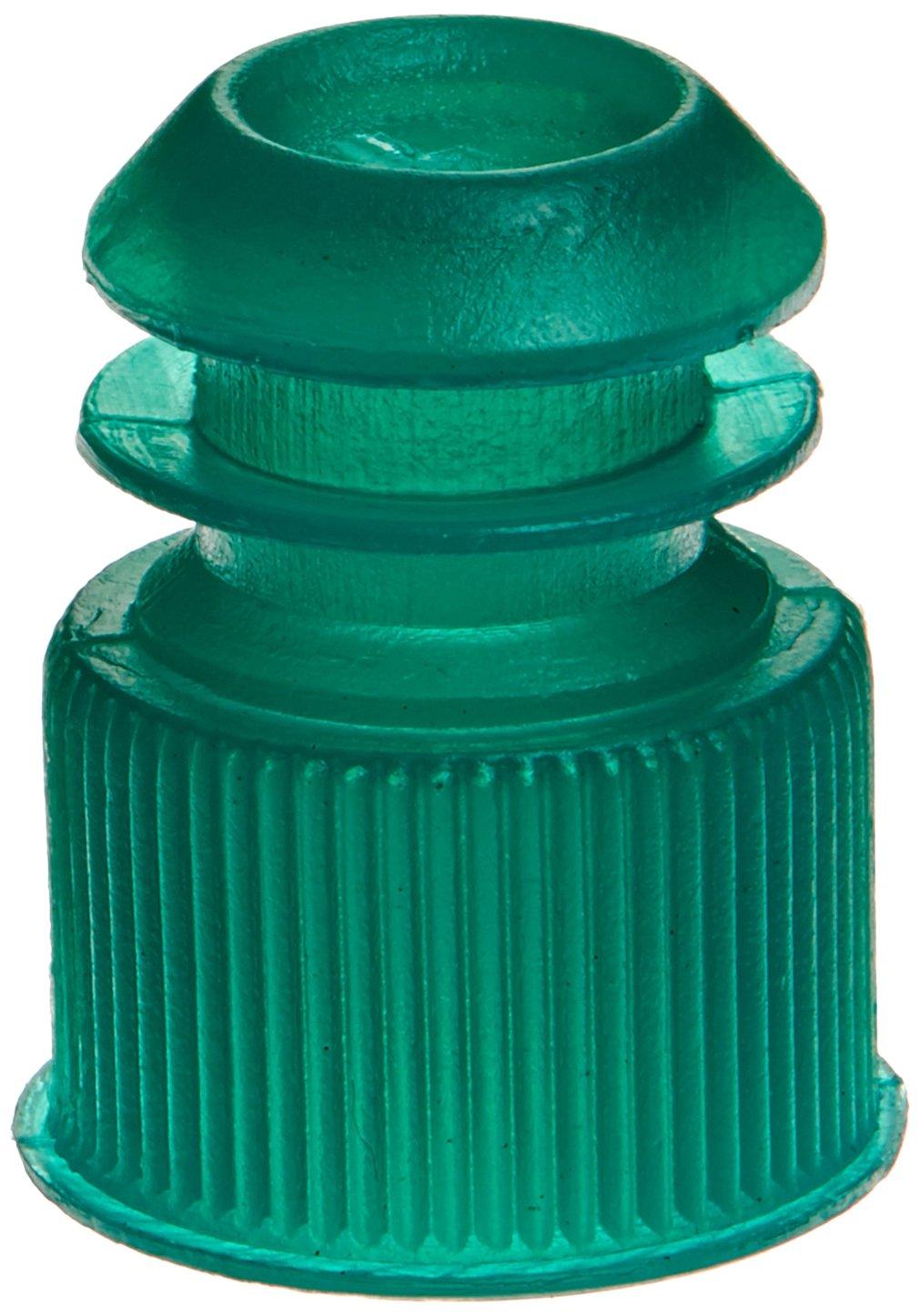 Globe Scientific 118240G Polyethylene Flange Plug Cap for Test Tubes, 13mm Size, Green (Pack of 1000)