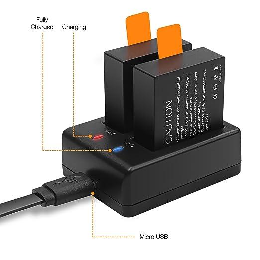 APEMAN Cámara Depoetiva 1050mAh Batería Recargable 4pcs Cargador USB Adaptador para Apeman Cámara de Acción A60 / A66 / A70 / A80