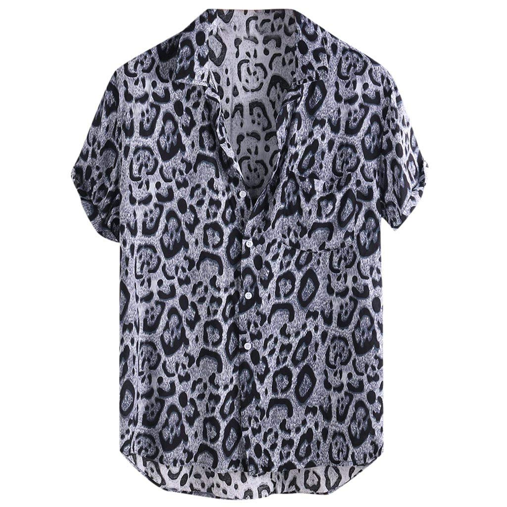 JJLIKER Mens Hipster Short Sleeve Shirts Leopard Print Button Down Casual Tees Shirts Beach Hawaiian Shirt with Pockets