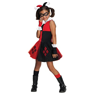 67d8674f32 アウトレット Rubie's DC Super Villain Collection Harley Quinn Girl's Costume with Tutu  Dress, Medium: