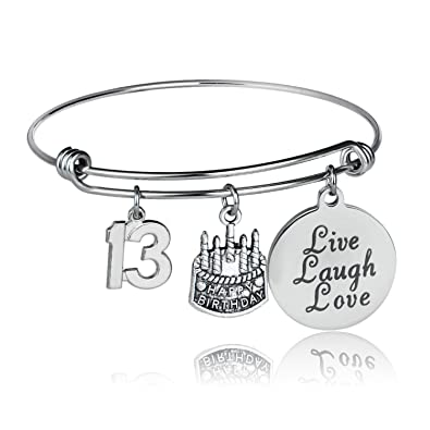 YeeQin Happy Birthday Bangles Cake Cheer Live Laugh Love Charms Bangle Bracelets Gifts For Her