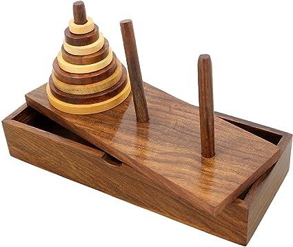 SKAVIJ Wooden 9-Rings Tower of Hanoi Puzzle Game Handmade, Brown