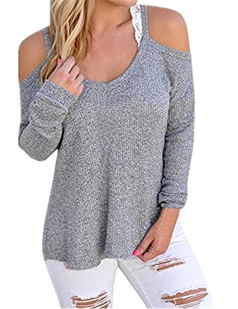 5c3b1e93700701 Minetom Donna Sexy Lunga Tunica Manica Camicie Spalla Fredda Camicie Collo  V Elegante Camicetta Maglietta Blusa: Amazon.it: Abbigliamento