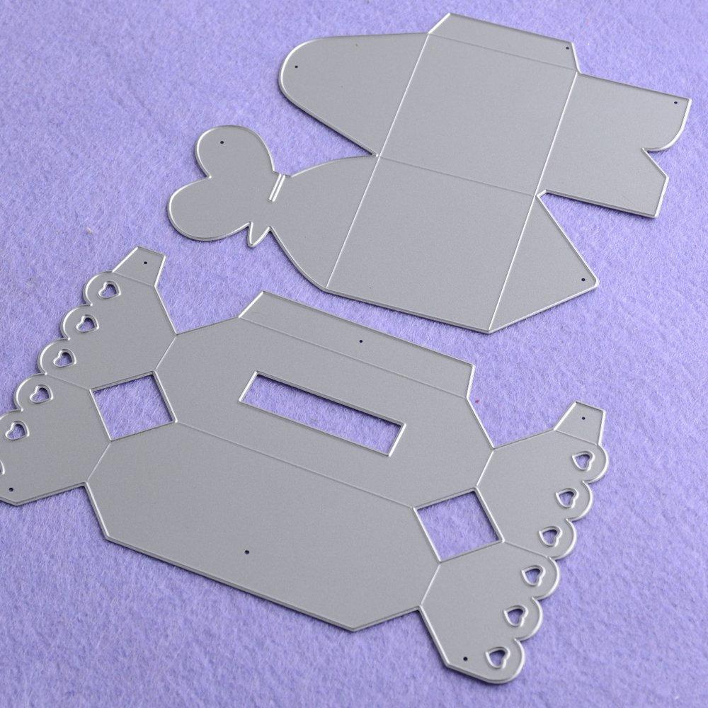 2 St/ück Metall Geschenkbox Form Stanzschablonen Metall Schneiden Schablonen f/ür DIY Scrapbooking Album Schneiden Schablonen Papier Karten Sammelalbum Deko