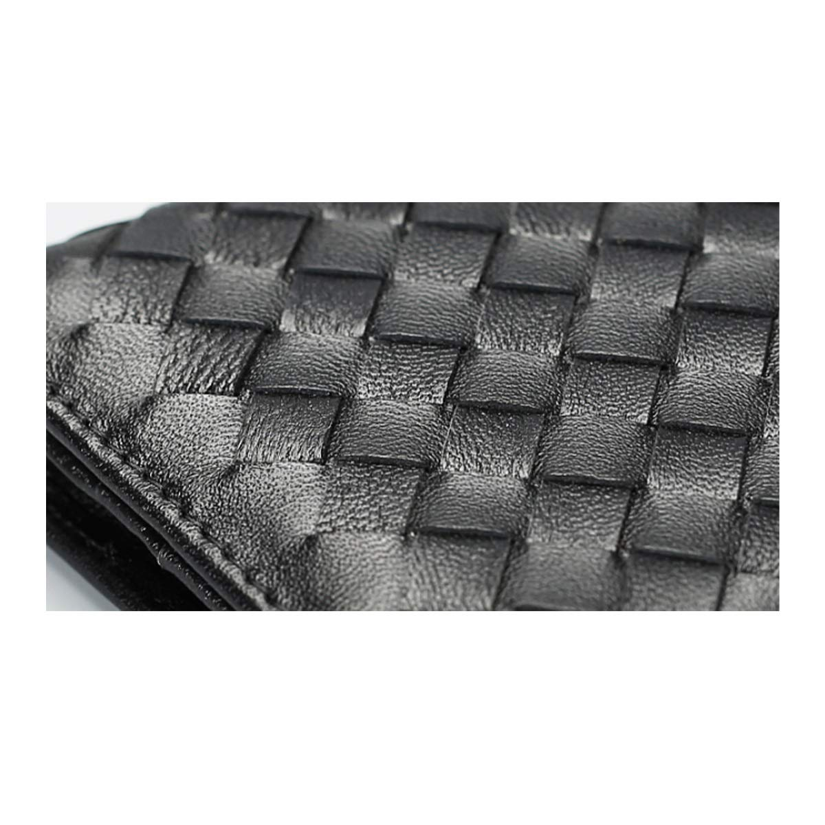 Xingganglengyin European and American Leather Woven Mini Wallet Female Small Short Small Small Fresh Folding Buckle Two Fold Vertical Ultra-Thin Color : Black